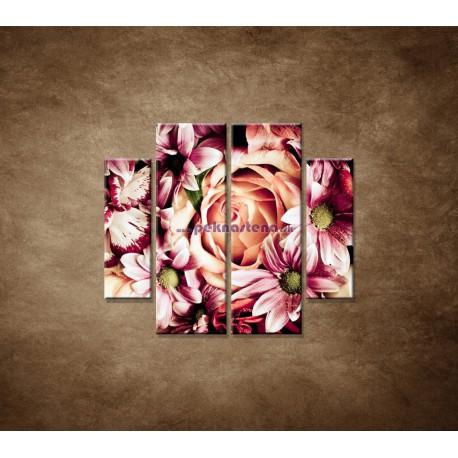 Obrazy na stenu - Kytica kvetov - 4dielny 100x90cm