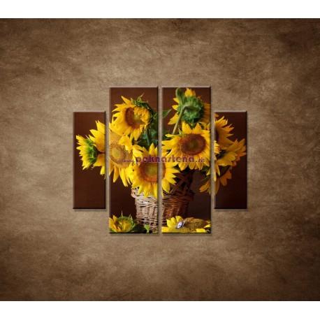 Obrazy na stenu - Slnečnice - 4dielny 100x90cm