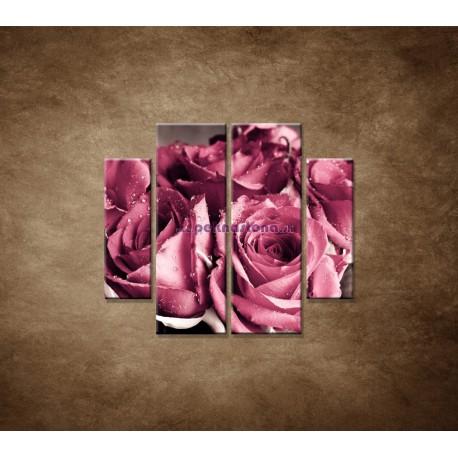 Obrazy na stenu - Kytica ruží - 4dielny 100x90cm