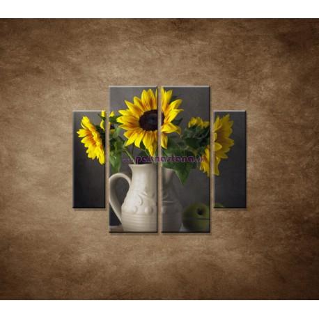 Obrazy na stenu - Slnečnica vo váze - 4dielny 100x90cm