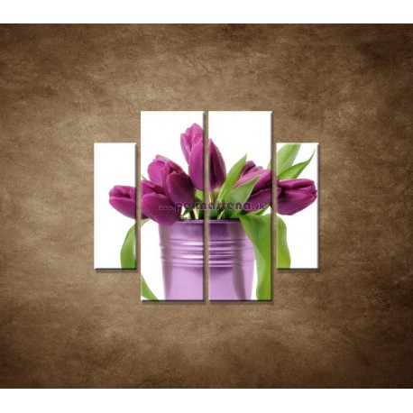 Obrazy na stenu - Svieže tulipány - 4dielny 100x90cm
