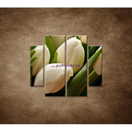 Obrazy na stenu - Kytica tulipánov - detail - 4dielny 100x90cm