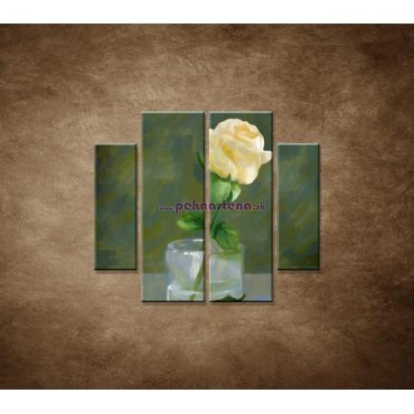 Obrazy na stenu - Maľovaná ruža - 4dielny 100x90cm