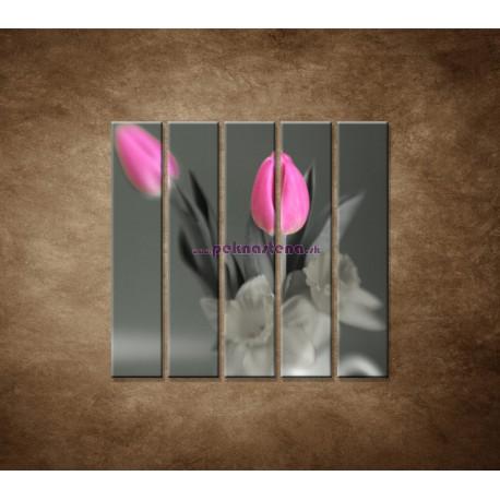 Obrazy na stenu - Ružové tulipány - 5dielny 100x100cm