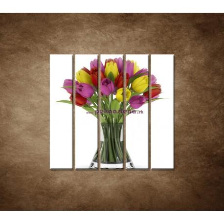 Obrazy na stenu - Tulipány vo váze  - 5dielny 100x100cm